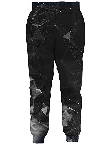 RAISEVERN Unisex Sweatpants Diamond Geometry Funny Joggers Pants Galaxy Jogging Trousers Sportswear with Drawstring for Men Women