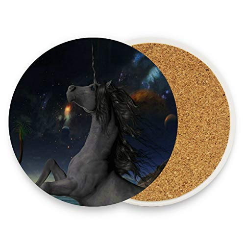 Unicorn Starry Sky Coasters, Prevent Furniture from Dirty and Scratched, Round Wood Coasters Set Suitable for Kinds of Mugs and Cups, Living Room Decorations Gift 1 -