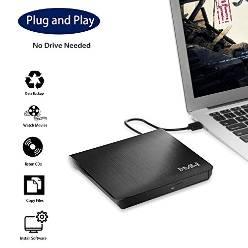 DMH External DVD Drive USB 3.0, Portable CD DVD +/-RW Optical Drive Burner Writer for Windows 10/8 / 7 Laptop Desktop Mac MacBook Pro Air iMac HP Dell LG Asus Acer Lenovo Thinkpad, (Black)
