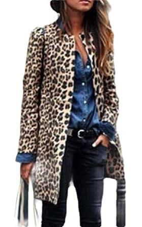 Macondoo Women's Open Front Trench Coat Coat Leopard Print Jacket Outwear 1 S