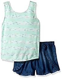 Limited Too Toddler Girls\' 2 Piece Wrap Tank Top and Denim Short, Mint, 3T