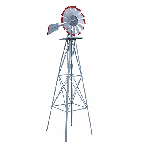 (Decorative 8 Foot Ornamental Durable Steel Yard Garden Windmill Weather Vane | Most Powerful Design with No Batteries or Electrical Outlets Needed | Spinner is Weather Resistant 4 Leg Designed Silver)