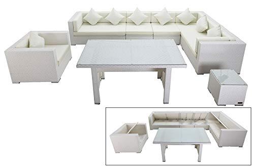 OUTFLEXX Lounge-Set aus hochwertigem Polyrattan in weiß, 3-Sitzersofa, 2-Sitzer + 2 Mittelelemente, 1 Sessel + Beistelltisch + Sofatisch, inkl. Polster, für 8 Personen, Boxfunktion, wetterfest