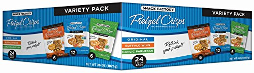 Snack Factory Pretzel Crisps Variety Pack, Single-serve 1.5 Ounce, 24 Count