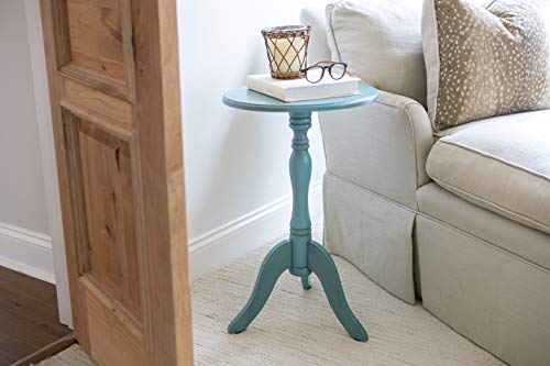 Décor Therapy Simplify Pedestal Accent Table, Turquoise blue