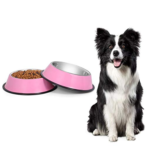 KASBAH Stainless Steel Cat Food Bowls Dog Bowl for Small/Medium/Large Pets with Removable Rubber Bottom Set of 2, Pink
