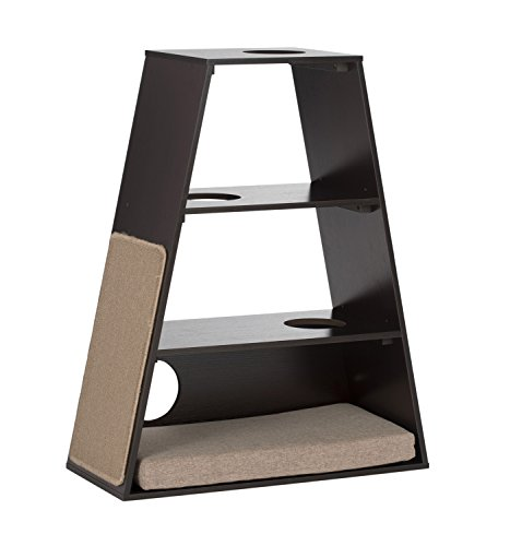 (Paws and Purrs Modern Cat Furniture Play Pyramid Tower with Rest Bed, Espresso/Sand )