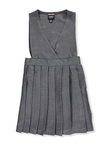 French Toast Criss Cross Pleated Jumper - Gray, 6X