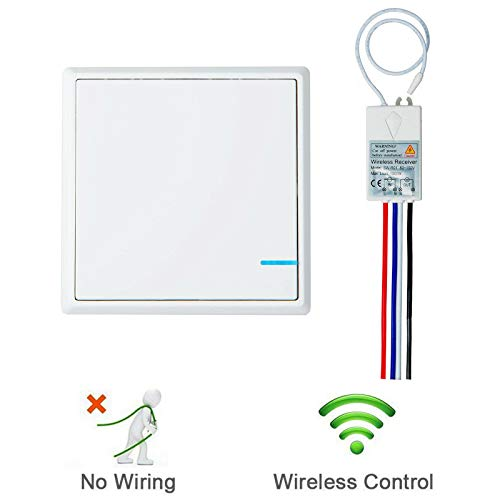 GREENCYCLE Wireless light Switch Kit with 1 1-Way Push Button Switch,1 110V Receiver, Perfect Solution for Quick Create or Relocate On/off Switches for Lamps/Fans/Glass room/Outdoor, No Wiring (2 Position Push Pull Light Switch Wiring Diagram)