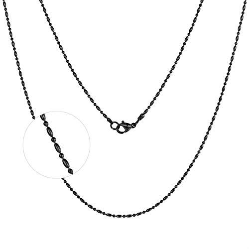 316L Stainless Steel Necklace 1mm Ball Bead Chains Women Black 1mm Bead Chain Necklace