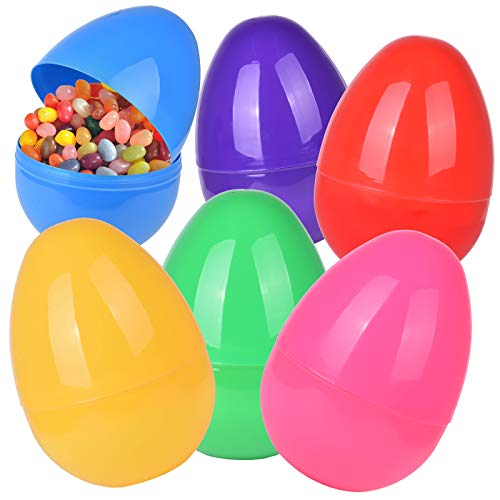 Basket Stuffers Fillers Classroom Prize Supplies HOOJO 12 Pack 8 Inches Plastic Easter Eggs Fillable with 6 Colors for Easter Egg Hunt Filling Treats and Party Favor