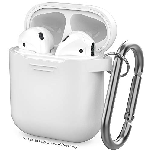 (AhaStyle Silicone Case Protective Cover Skin Compatible with Apple AirPods 2 & 1 [Front LED Not Visible]- White)