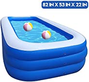 ESM Inflatable Pool Family Swim Center Inflatable Swimming Kiddie Pools Rectangular Paddling Pool for Kids, Ad