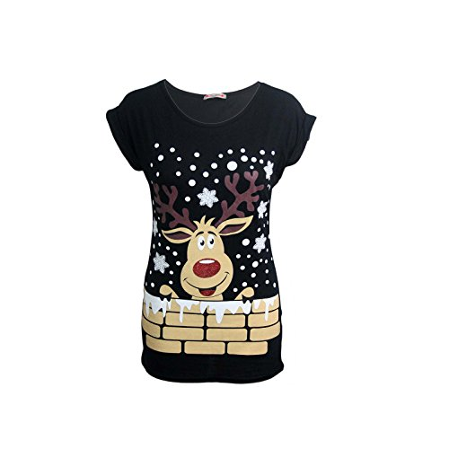 00807d30ce0 Womens Ladies Christmas Glitter T Shirt Reindeer Santa Snowman Print Xmas  Tops - Buy Online in KSA. Clothing products in Saudi Arabia.