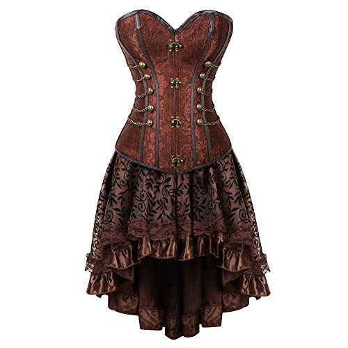 Grebrafan Women's Jacquard Steampunk Spiral Steel Boned Corset Dancing Skirt Set with Chains (US(12-14) 2XL, Brown)