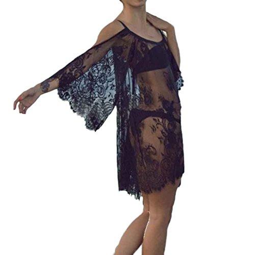 Vestido de verano, RETUROM El bikiní floral bordado vintage del cordón de las mujeres cubre para arriba el vestido de la playa Negro