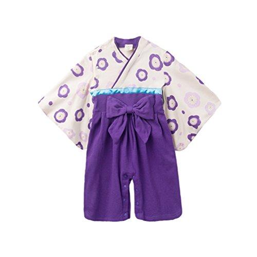 Longue Coton En Japonais Manche Fille Bébé À Combinaison Barboteuse Acvip Violet Kimono 1pc ngxCPqTf8w