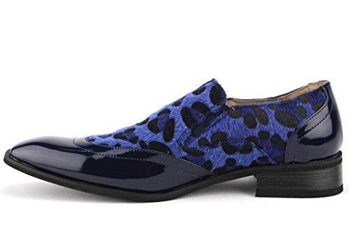 ... Menns 99525 Eksotiske Print Faux Ponni Hår Leopard Zebra Patent Loafers  Sko Navy / Marine ...