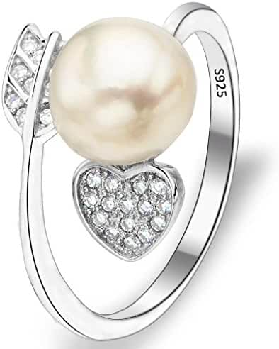 EVER FAITH 925 Sterling Silver CZ 9MM AAA Freshwater Cultured Pearl Love Heart and Arrow Adjustable Ring