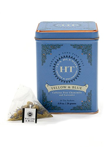 Harney and Sons Yellow and Blue Tea Sachets, Chamomile and Lavender, 20 Count (Pack of 4)