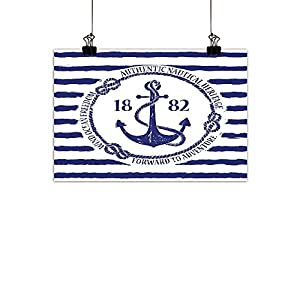 """Warm Family Anchor Wall Art Decor Poster Painting Old Authentic Nautical Emblem with Anchor on a Striped Background Freedom Heritage Decorations Home DecorWhite Blue 20""""x16"""" 46"""
