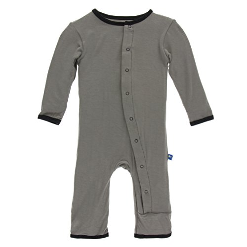 French Applique (Kickee Pants Baby Boys' Fitted Applique Coverall in French Bulldog, 12-18M)