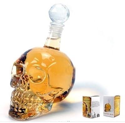 Glass Skull Face Decanter Golden 350ML Vodka Wine Bottle