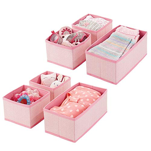 mDesign Soft Fabric Dresser Drawer and Closet Storage Organizer for Kids/Toddler Room, Nursery, Playroom, Bedroom - Herringbone Print - Organizing Bins in 2 Sizes - Set of 6 - Pink