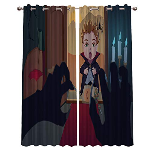 Trick or Threat Halloween Prank Curtains,Blackout Curtains 2 Panels Set Room Darkening Drapes Thermal Insulated Grommets Window Treatment Pair for Bedroom,Nursery,Living Room,104