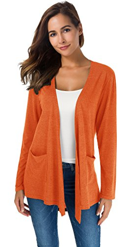 Women's Loose Casual Long Sleeved Open Front Breathable Cardigans with Pocket (M, Orange) (Sweater Cardigan Orange)