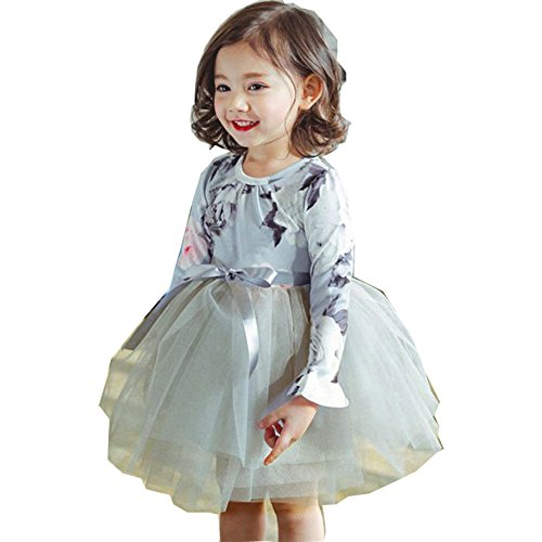 yongy Tutu Princess Casual Dress Printed Puff Long Sleeves for Baby Girl (Dusty Blue, 4-5Y) ()