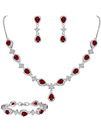 Women's Silver-tone Cubic Zirconia Teardrop Flower Bridal V-Necklace Set Tennis Bracelet Dangle Earrings