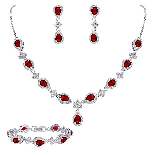 (EleQueen Women's Silver-tone Cubic Zirconia Teardrop Flower Bridal V-Necklace Set Tennis Bracelet Dangle Earrings Ruby Color)