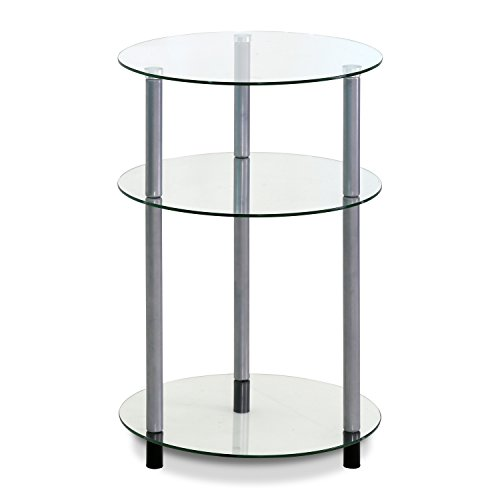 Furinno FTD0406G 3-Tier Kaca Glass Side Table, Clear (Signature Glass Shelf)