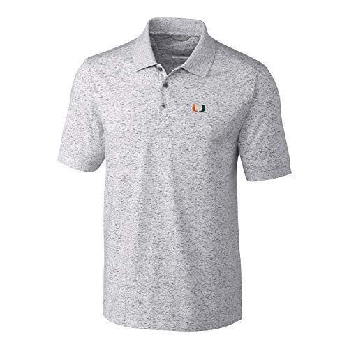 Ncaa Button Down Shirt - Cutter & Buck NCAA Miami Hurricanes Mens Short Sleeve Space Dye Advantage Polo, Elemental Grey, Large