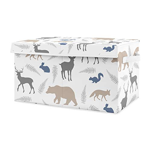 Sweet Jojo Designs Blue and Grey Bear Deer Fox Boy Baby Nursery or Kids Room Small Fabric Toy Bin Storage Box Chest for Woodland Animals Collection (Storage Blue Squirrel)