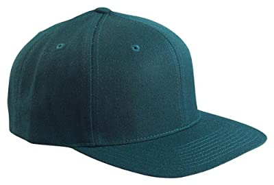 Wholesale Wool Blend Flexfit Yupoong Flat Bill Blank Snapback Hats w/ Green Underbill (Spruce) - 20591