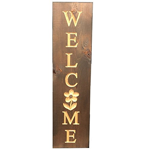 Vertical Welcome Sign - Flower Design - Cedar - Large 7.25
