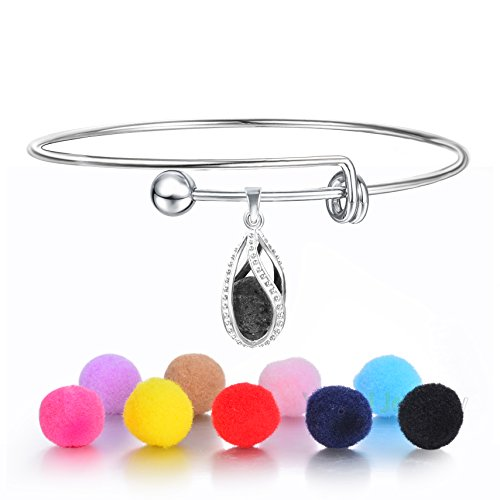 Bangles It Drop (Yumei Jewelry Waterdrop Diffuser Bracelet Expandable Bangle Adjustable Wire Blank Bangle Bracelet with Lava Bead)
