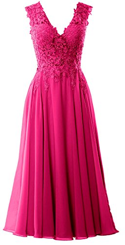 V Fuchsia Dress Length Neck Gown Tea Evening Homecoming Gorgeous Formal MACloth Prom UYqxBCC