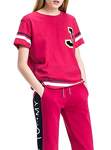 T-Shirt Tommy Hilfiger Jeans DW0DW03987 Donna Maglia Logo Cotone PE 18 Oversize - Taglia L