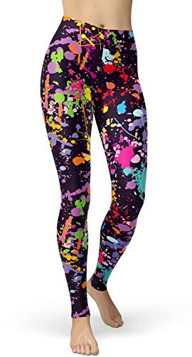Women's Artistic Splash Printed Brushed Buttery Soft Leggings Regular and Plus (One Size(XS-L/Size 0-12), Color Splash)