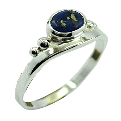 Natural Lapis Lazuli Ring for women Oval Shape Sterling Silver Bezel Setting Jewelry (Lapis Lazuli Flower)