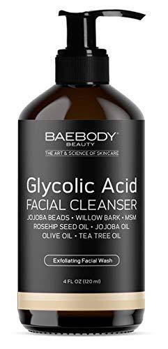 Baebody Glycolic Acid Facial Cleanser with Jojoba Beads, Tea Tree Oil & Rosehip Oil, 4 Ounces