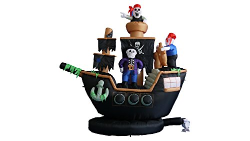Blow Up Halloween Pirate Ship (BZB Goods 7 Foot Halloween Inflatable Skeletons Ghosts on Pirate Ship Lights Decor Outdoor Indoor Holiday Decorations, Blow up Lighted Yard Decor, Giant Lawn Inflatables Home Family Outside)