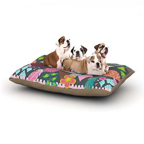 Kess InHouse Anneline Sophia ''Aztec Boho Tropical'' Gray Rainbow Dog Bed, 30 by 40-Inch by Kess InHouse