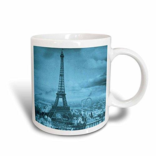 3dRose Eiffel Tower Paris France 1889 Cyan Mug, 11-Ounce