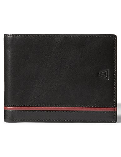 Leather Architect Men's 100% Leather RFID Blocking Classic Bifold Wallet Black Red
