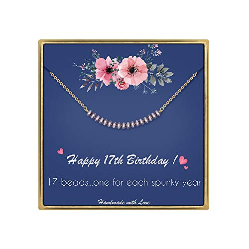 IEFLIFE 17th Birthday Gifts for Girls - Crystal Beads Necklace Gifts for 17 Year Old Girl Beaded Bar Necklace Girl Birthday Gifts 17 Year Old Girl Gifts Birthday Gifts for Sister, Best Friends, Niece (Birthday Gifts For 17 Year Old Daughter)