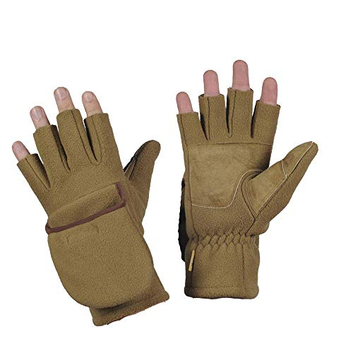 Winter Fleece Mittens - Windproof Gloves - Warm Insulated Gloves (Tan, S/M)